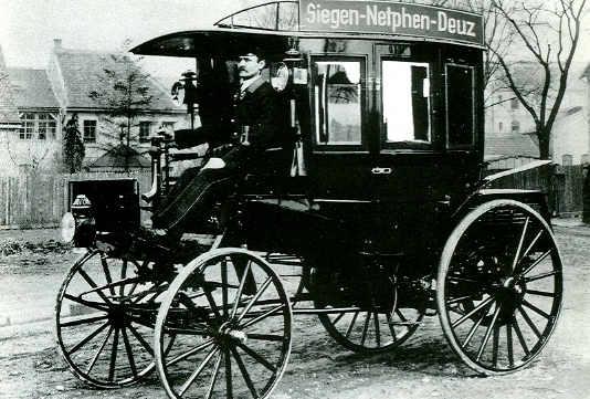 Postkarte 1.Motor-Omnibus 1895