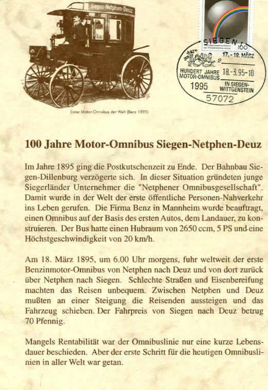 100 Jahre Motor-Omnibus Gedenkblatt mit Fahrplan