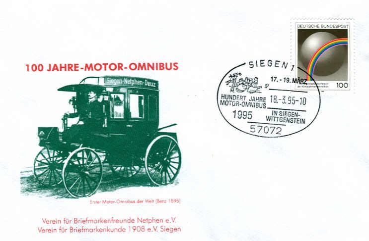 100 Jahre Motor-Omnibus Ersttagsbrief mit Foto