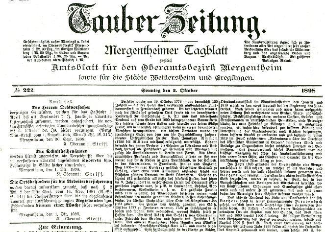 100 Jahre Kraftpostlinie Nachdruck d.Tauber-Zeitung