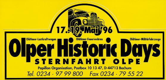 Aufkleber Olper Historic Days