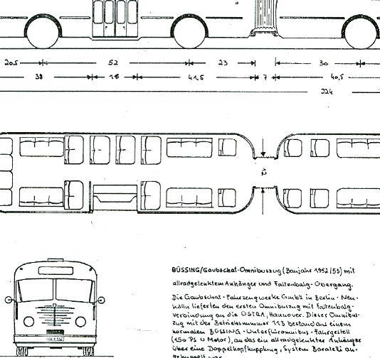 Maßstabzeichnung 1:87 Büssing-Gaubschat-Gelenkbus