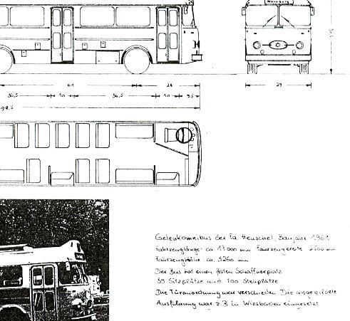 Maßstabzeichnung 1:87 Henschel-Gelenkbus - 1961