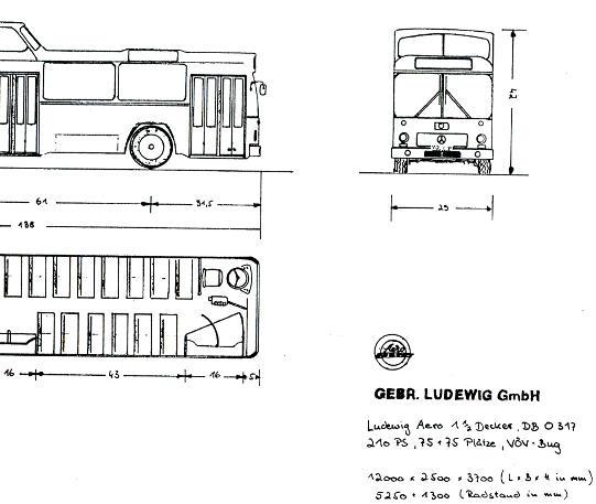 Maßstabzeichnung 1:87 Ludewig  Mercedes Benz MB  O 317 1 1/2-Dec