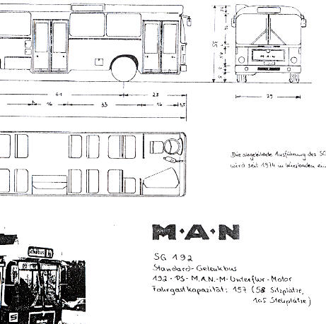 Maßstabzeichnung 1:87 MAN SG 192 /Stand.-Gelenkbus