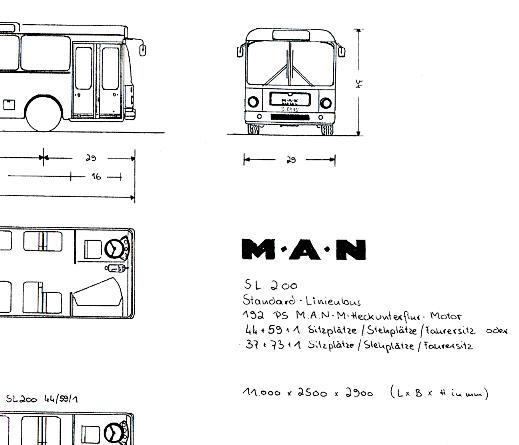 Maßstabzeichnung 1:87 MAN SL 200