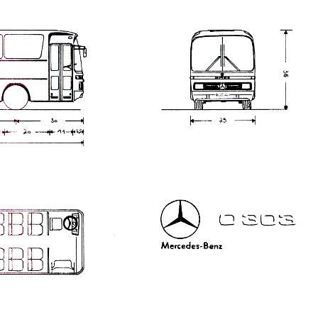 Maßstabzeichnung 1:87 Mercedes Benz MB  O 303 - 15 RHP