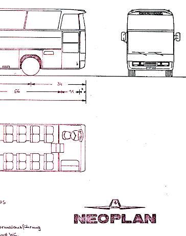 Maßstabzeichnung 1:87 Neoplan-Cityliner N 116