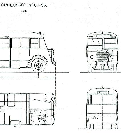 Maßstabzeichnung Omnibus Nr. 84-95 1:20 -