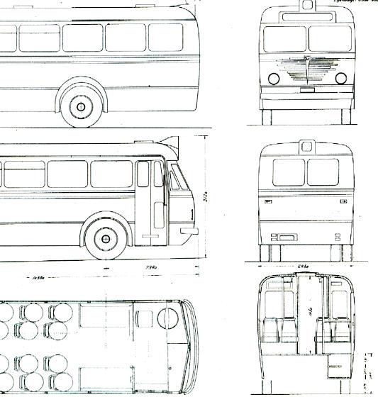 Maßstabzeichnung Chassis Büssing 5000 TU Omnibus A 977 -