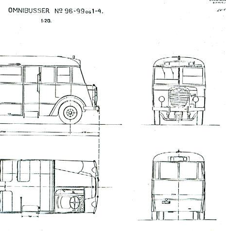 Maßstabzeichnung Omnibus 96-99 1:20 -