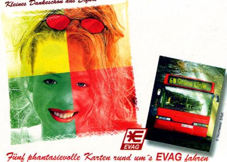 Omnibus-Postkarten 5 versch.Erfurt