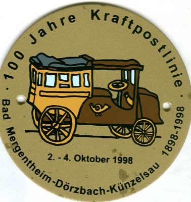 Auto-Plakette 100 Jahre Kraftpostlinie