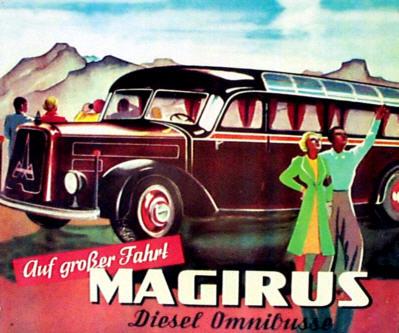 Magirus-Blechschild Diesel-Omnibus