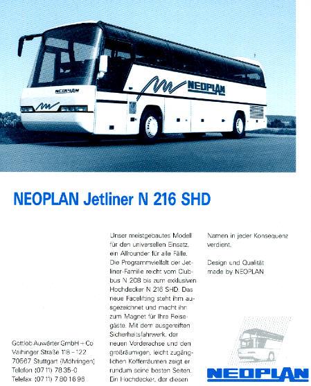 NEOPLAN-Jetliner N 216 SHD -  Datenblatt