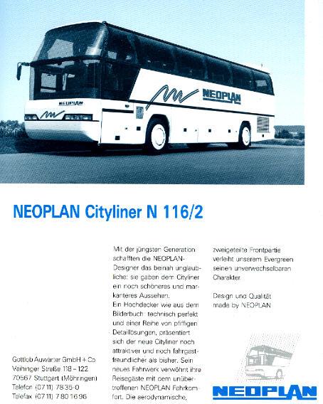 NEOPLAN-Cityliner N 116/2 -  Datenblatt