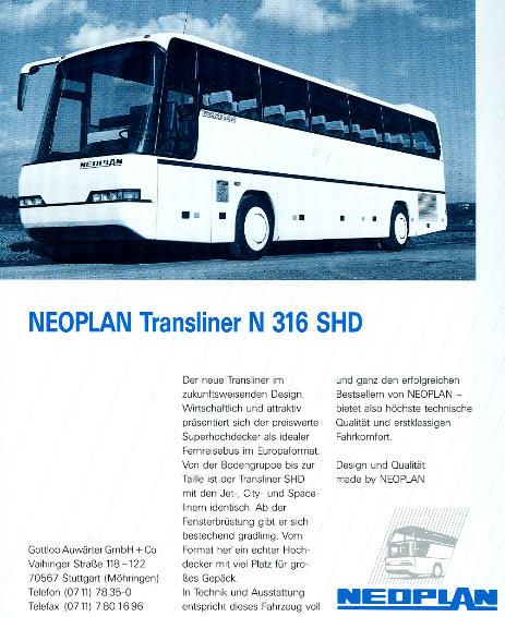 NEOPLAN-Transliner N 316 SHD -  Datenblatt