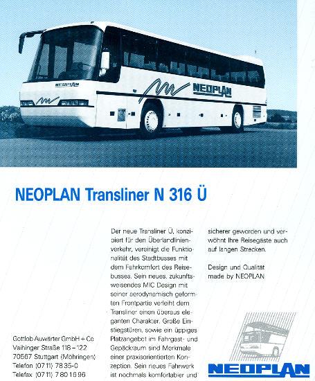 NEOPLAN-Transliner N 316 Ü -  Datenblatt