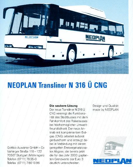 NEOPLAN-Transliner N 316 Ü CNG -  Datenblatt