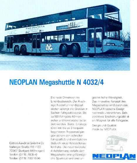 NEOPLAN-Megashuttle N 4032/4 -  Datenblatt