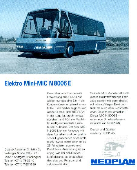 NEOPLAN-Elektro-Mini-MIC -Metroliner- N 8006 E -  Datenblatt