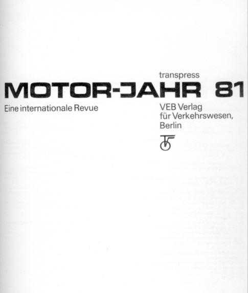 Motor-Jahr 1981 VEB Verlag,Berlin