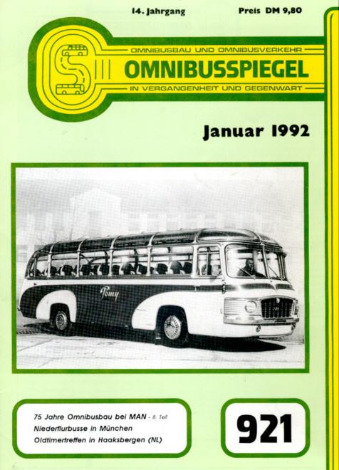 Omnibusspiegel 1992 - Nr.921,923,924,925 = 4 Hefte