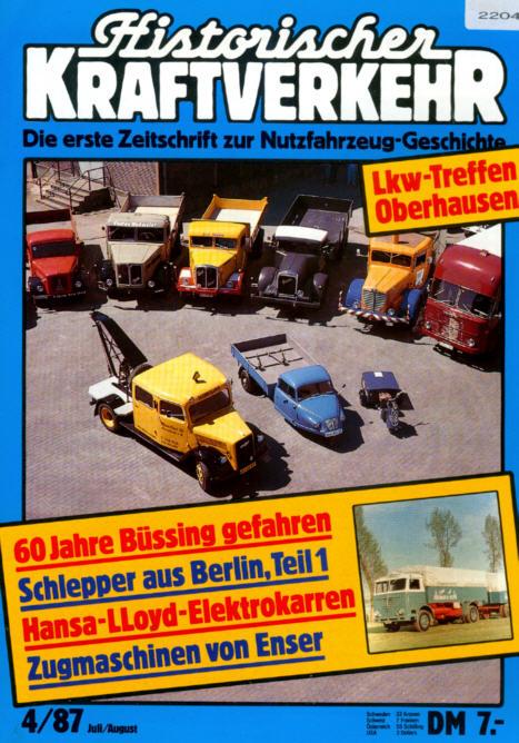 Historischer Kraftverkehr 4/87 Büssing,Hansa-Lloyd