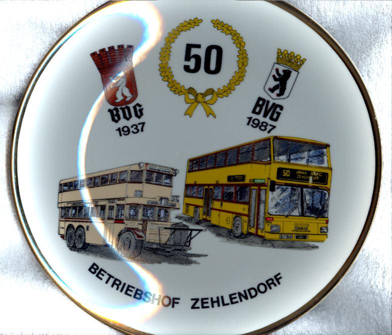 Omnibus-Wandteller 50 J. BVG Zehlendorf