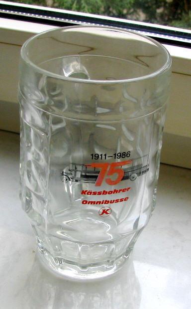 Bierkrug 75 Jahre Kässbohrer-Omnibusse 1911-1986 -Glas-