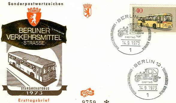Briefmarken Ersttagsbrief Berliner Verkehrsmittel 1973