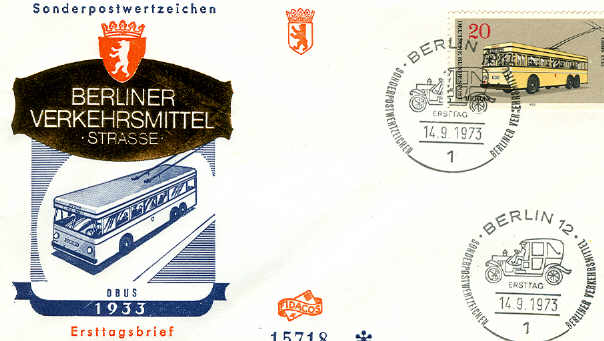 Ersttagsbrief O-bus 1933 Berliner Verkehrsmittel 1973