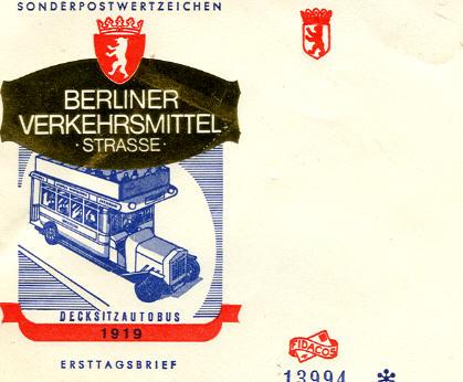 Ersttagsbrief Berliner Verkehrsmittel Decksitzautobus 1919