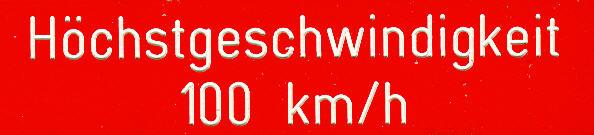 Bus-Klebe-Schilder Höchstgeschwindigkeit 100 km/h