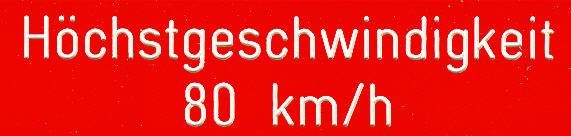 Bus-Klebe-Schilder Höchstgeschwindigkeit 80 km/h