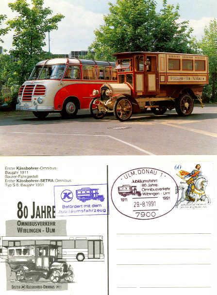 Postkarten Erster Kässbohrer-Omnibus 1911 + Setra S 8