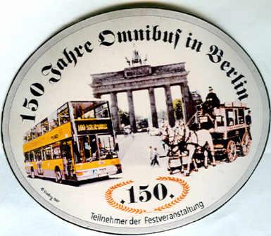 Aufkleber Auto 150 Jahre Omnibus in Berlin