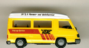 Herpa Mercedes Benz MB  100/Bus/Hochraum/ PC ADAC-Pannenhilfe